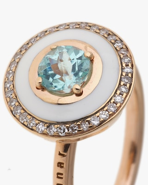 Selim Mouzannar Rose Gold Ring w/ Ivory Enamel Diamond & Paraiba Tourmaline 2