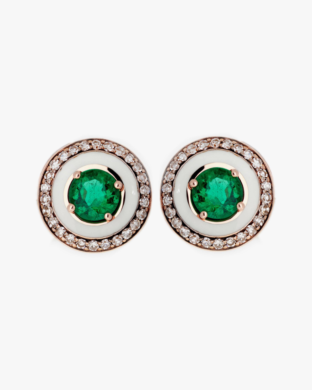 Selim Mouzannar Diamond & Tsavorite Stud Earrings 0