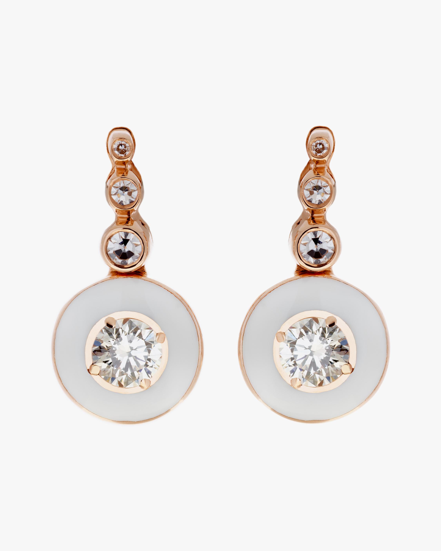 Selim Mouzannar Diamond & Ivory Enamel Drop Earrings 0
