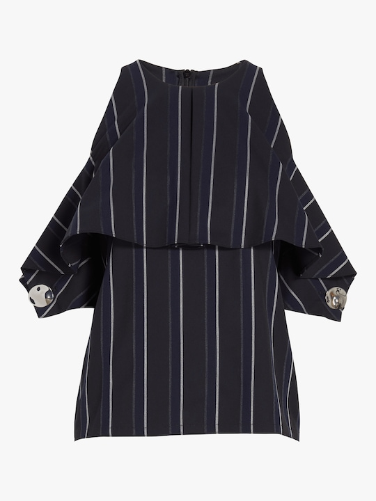 Yigal Azrouël Pinstripe Cold Shoulder Top 0