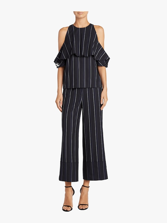 Yigal Azrouël Pinstripe Cold Shoulder Top 1