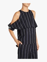 Yigal Azrouël Pinstripe Cold Shoulder Top 2