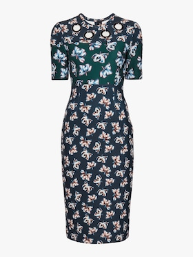 Floral Scuba Short Sleeve Dress