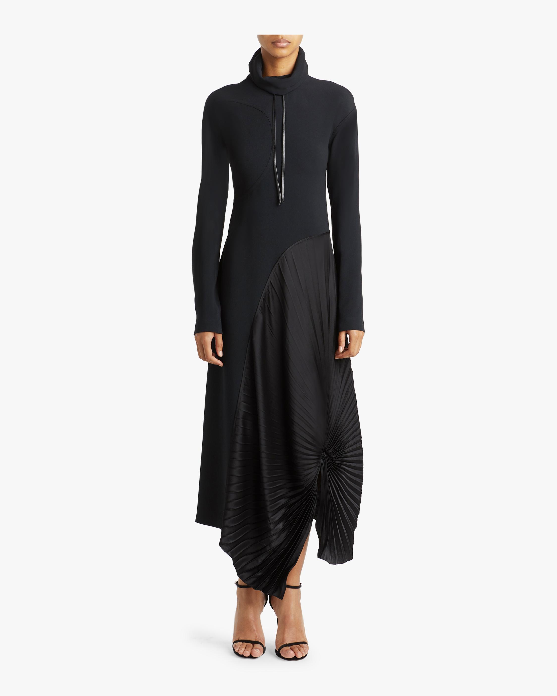 High Neck Pleated Circle Dress