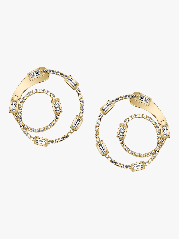 Baguette Diamond Orbit Earrings