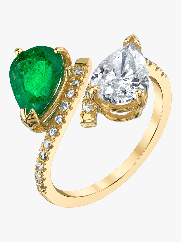 Twin Pear Emerald and Diamond Ring