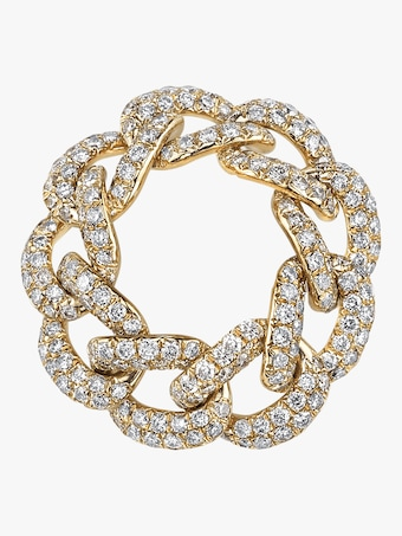 Full Link Jumbo Pavé Diamond Ring