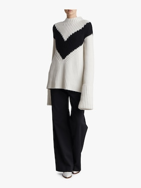 Ribbed Chevron Mockneck Sweater