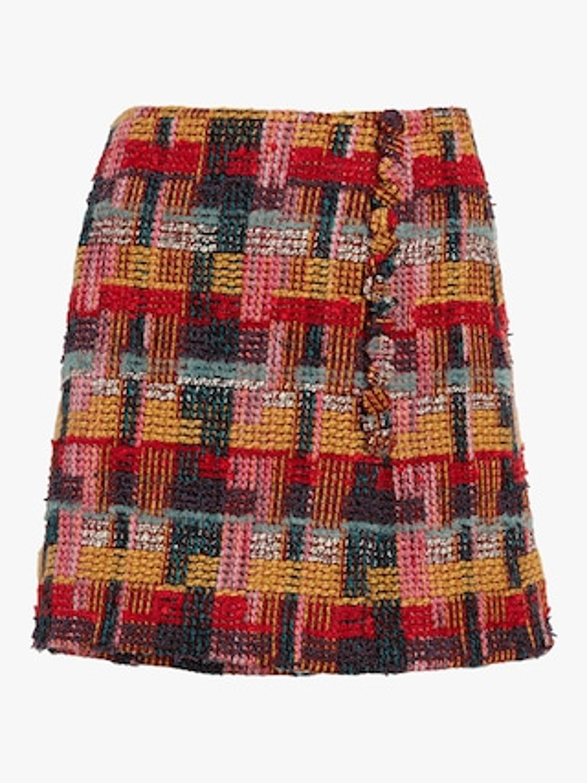Tweed Wrap Mini Skirt