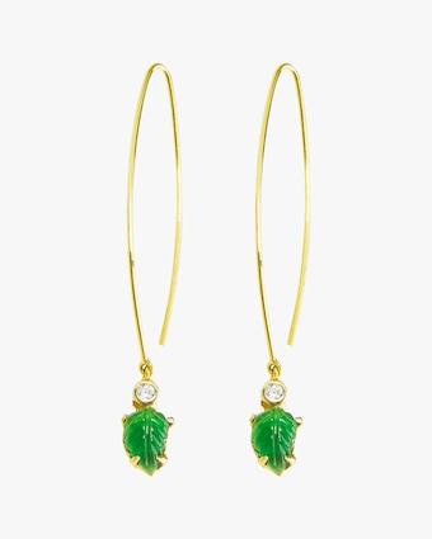 Essere Emerald Leaf Inverted Hoop Earrings 1