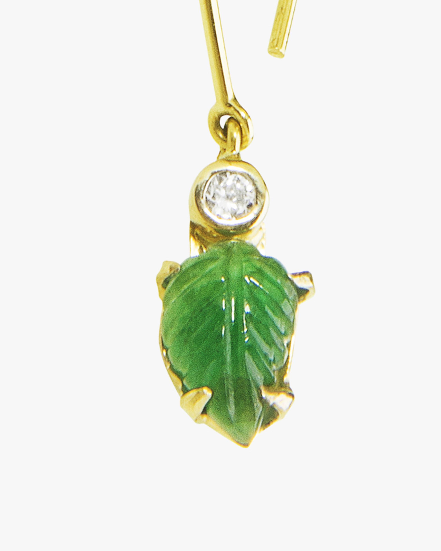 Essere Emerald Leaf Inverted Hoop Earrings 2