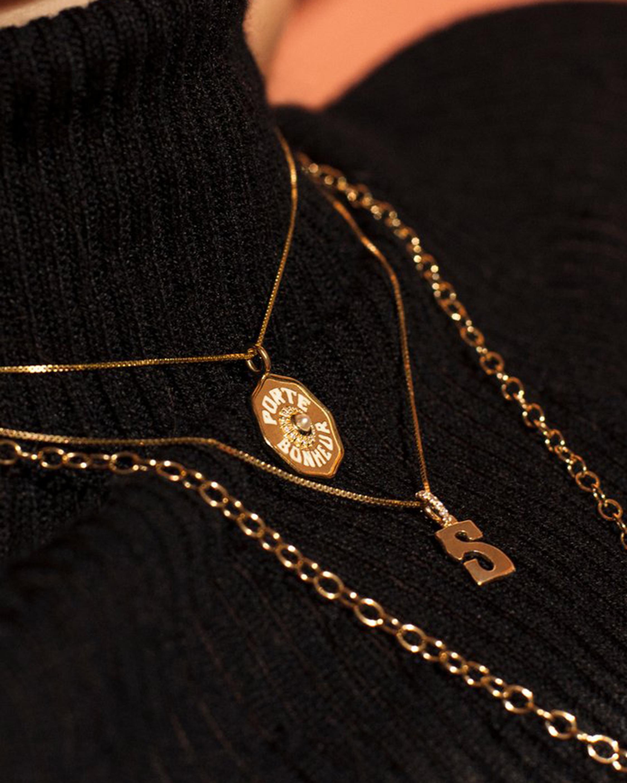 Marlo Laz Letter Charm Pendant Necklace 1