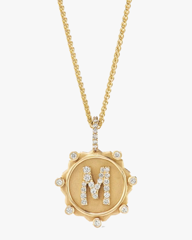 Marlo Laz Diamond Alphabet Pendant Necklace 0