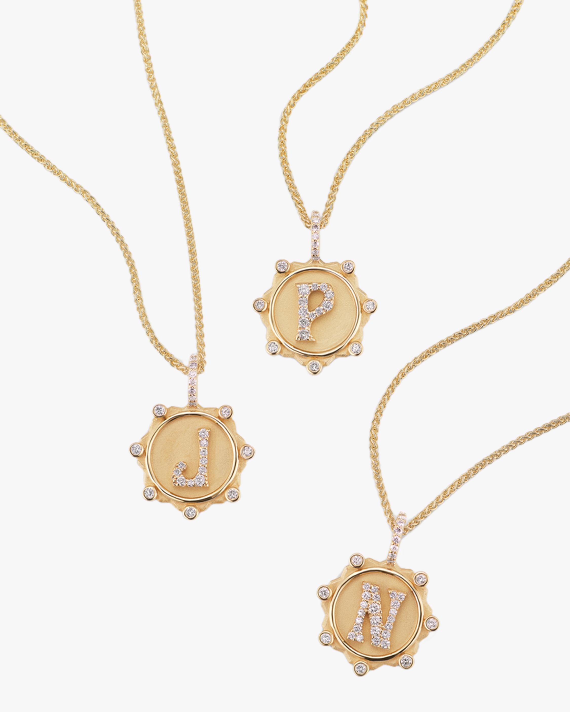 Marlo Laz Diamond Alphabet Pendant Necklace 1