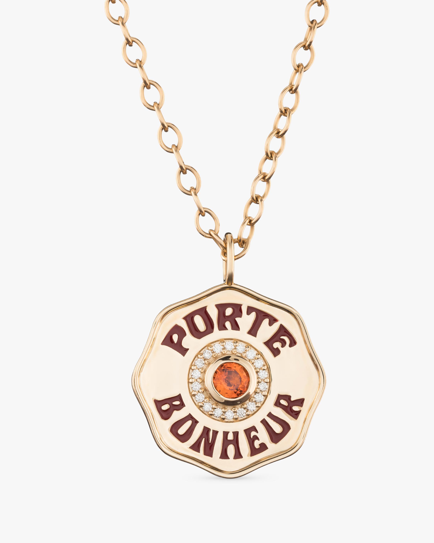 Orange Sapphire & Diamond PB Pendant Necklace