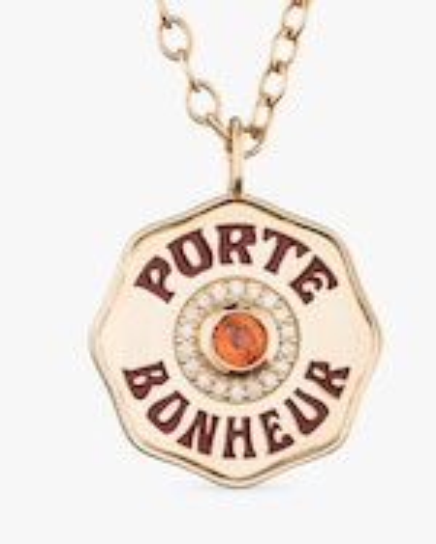 Marlo Laz Orange Sapphire & Diamond PB Pendant Necklace 2