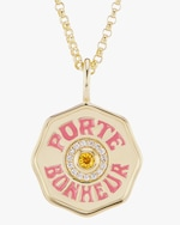 Marlo Laz Citrine & Diamond Mini PB Coin Necklace 3