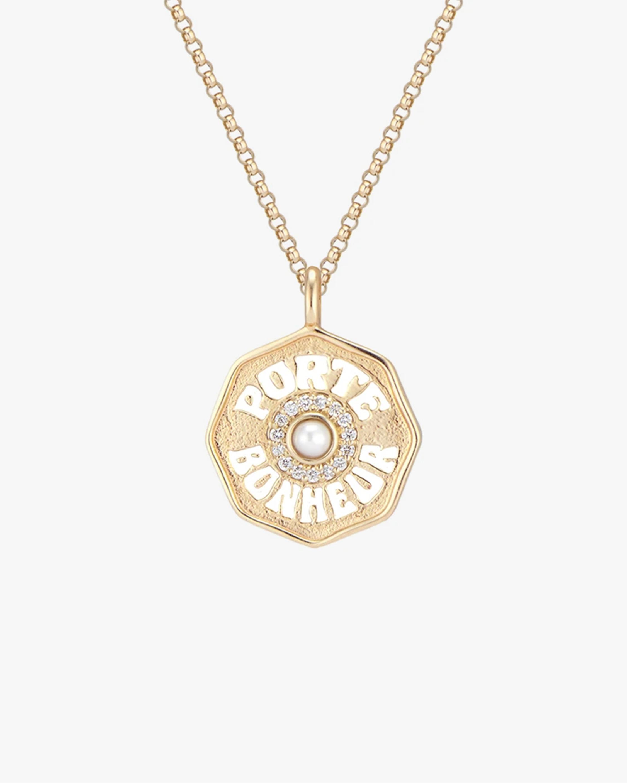 Marlo Laz Pearl & Diamond Mini PB Coin Necklace 0