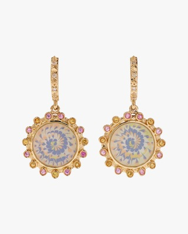Marlo Laz Lavender & Sapphire Spiral Earrings 1