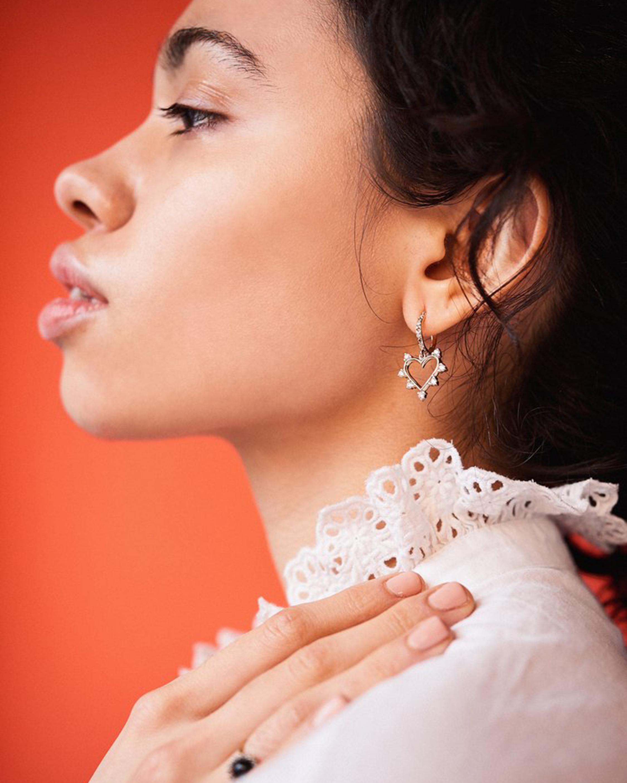 Marlo Laz Mini Open Heart Earrings 1