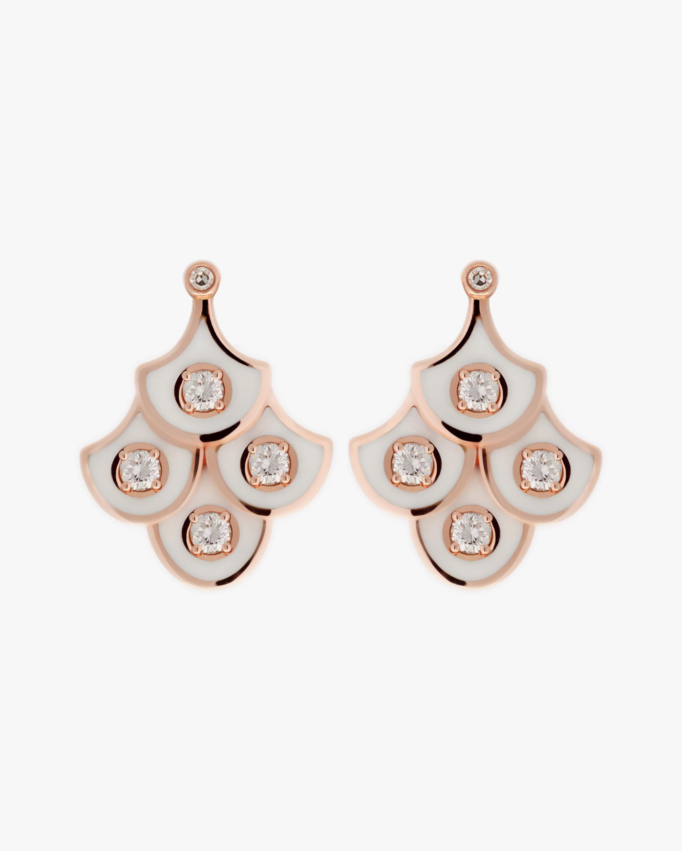 Selim Mouzannar Ivory Enamel & Diamond Chandelier Earrings 0
