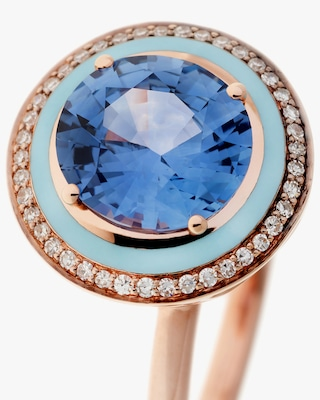 Selim Mouzannar One of a Kind Diamond & Blue Sapphire Ring 2