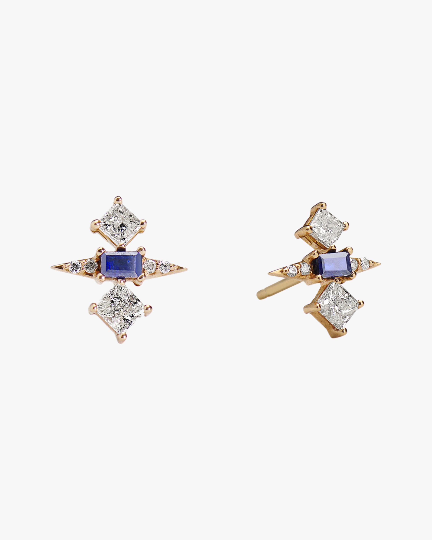 Sanjay Kasliwal Tanuja Sapphire & Diamond Stud Earrings 1
