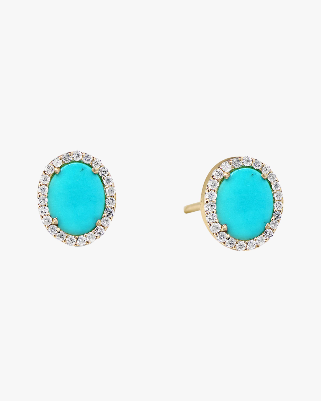 Sanjay Kasliwal Tushar Turquoise & Diamond Stud Earrings 1