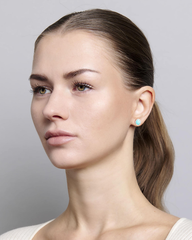 Sanjay Kasliwal Tushar Turquoise & Diamond Stud Earrings 2