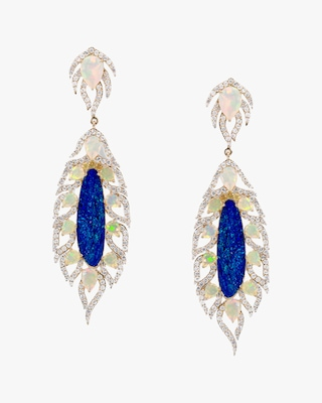 Sanjay Kasliwal Zankhan Opal & Diamond Earrings 1