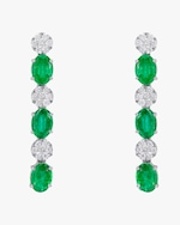 Sanjay Kasliwal Ryka Emerald & Diamond Earrings 0