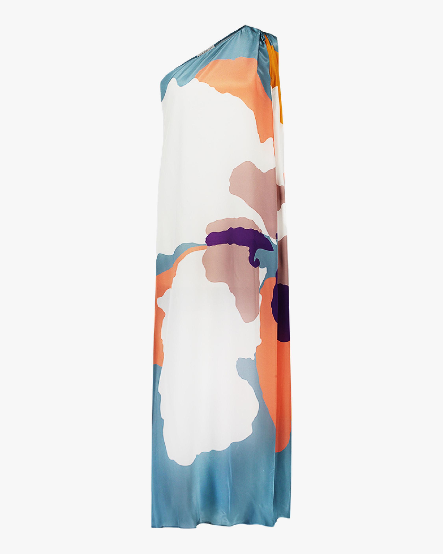 Mala Chetty Blush Hibiscus One-Shoulder Dress 0