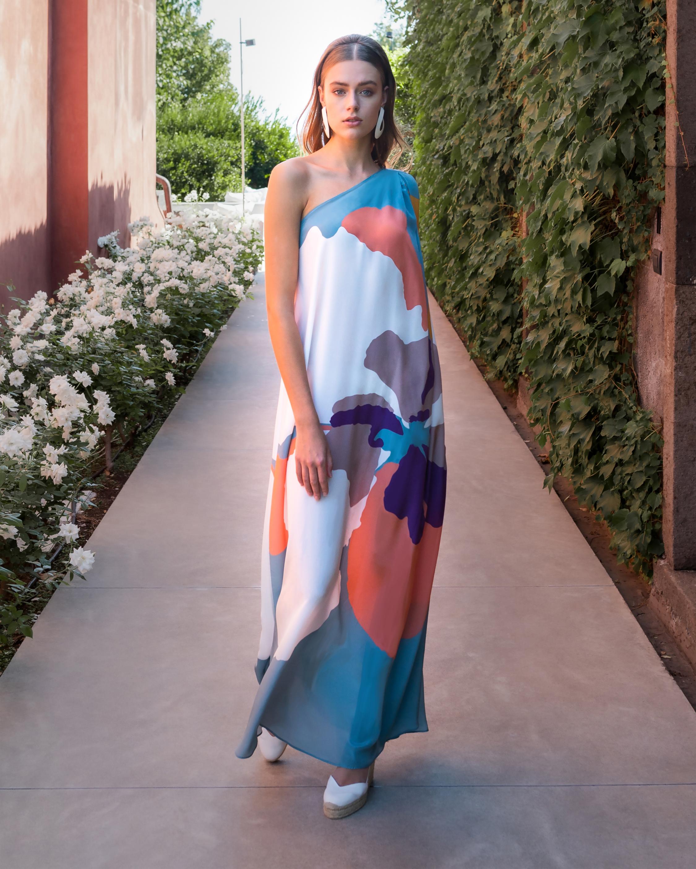 Mala Chetty Blush Hibiscus One-Shoulder Dress 5