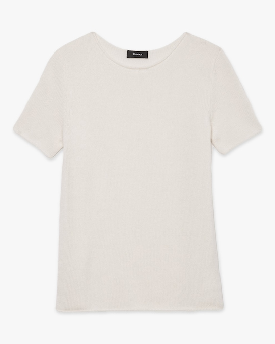 Theory Cashmere Short-Sleeve Sweater 0