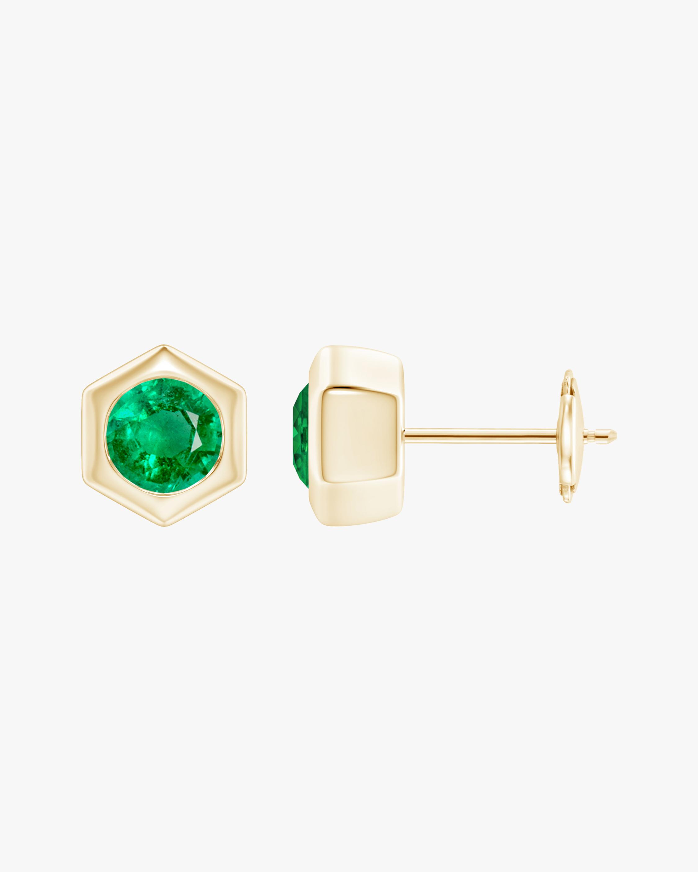 Natori Emerald Hexagon Stud Earrings 0