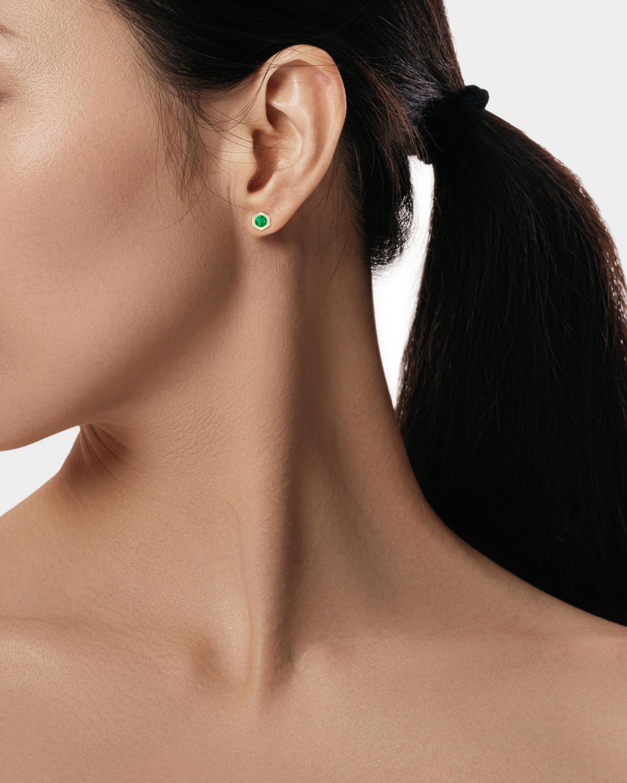 Natori Emerald Hexagon Stud Earrings 2