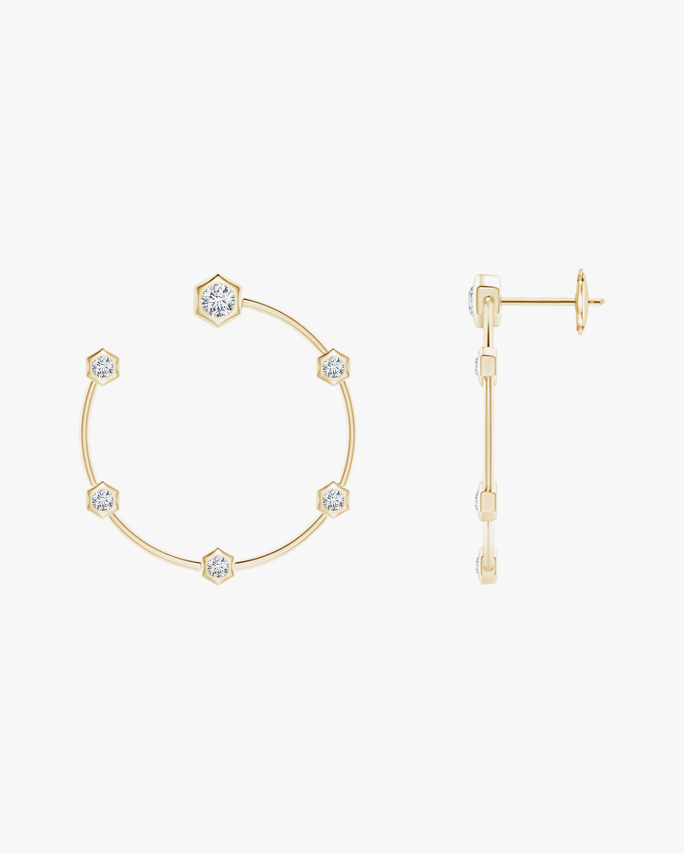 Natori Small Hexagonal Diamond Hoop Studs 1