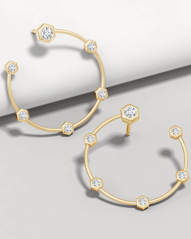 Natori Small Hexagonal Diamond Hoop Studs 2