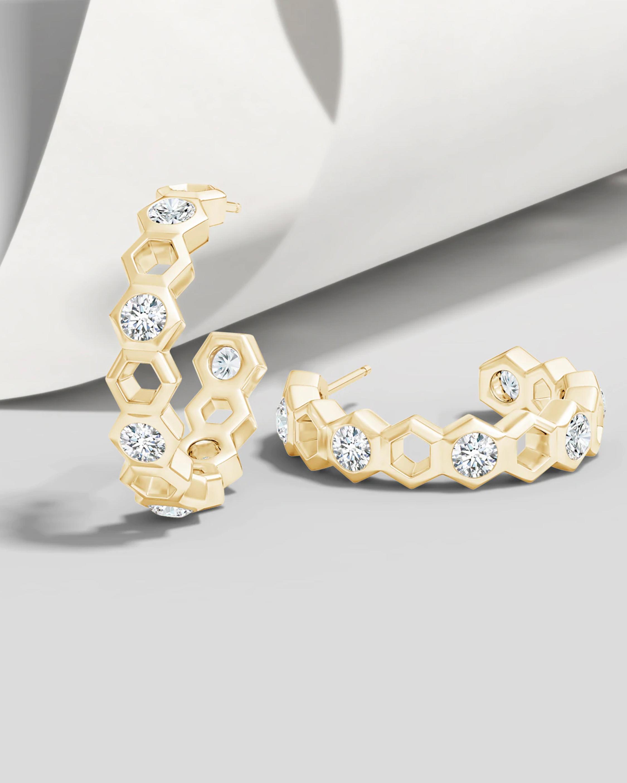 Natori Small Alternate Hexagonal Diamond Hoops 2
