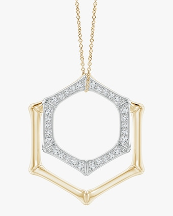 Natori Hexagonal Bamboo Diamond Pendant Necklace 1