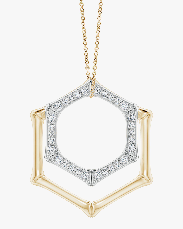 Natori Hexagonal Bamboo Diamond Pendant Necklace 0