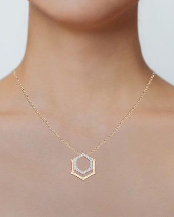 Natori Hexagonal Bamboo Diamond Pendant Necklace 2