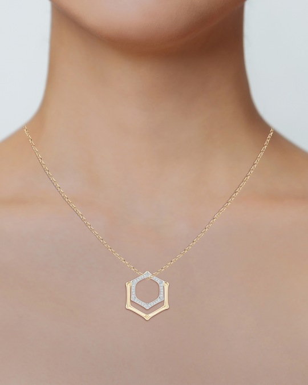Natori Hexagonal Bamboo Diamond Pendant Necklace 1
