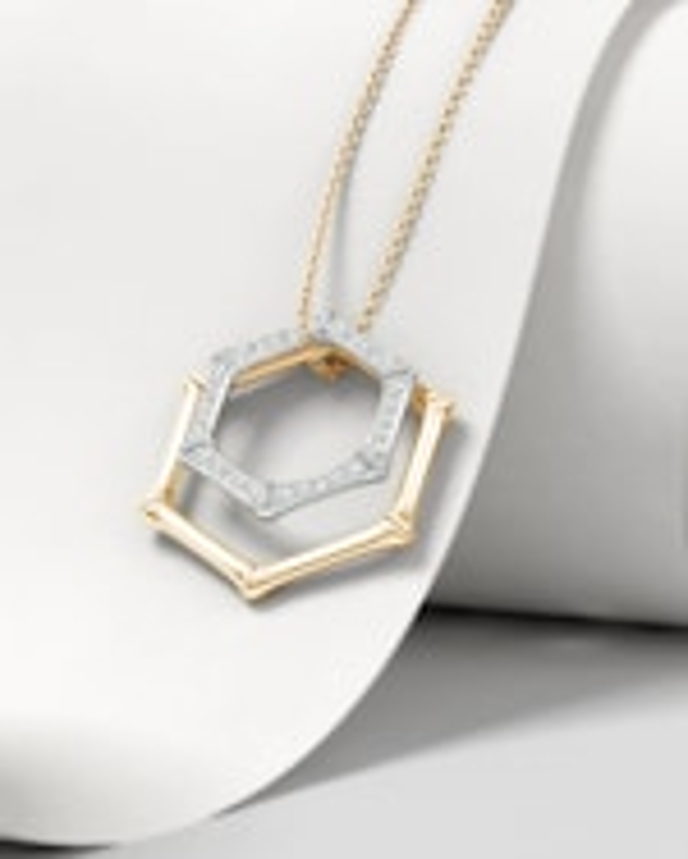 Natori Hexagonal Bamboo Diamond Pendant Necklace 2