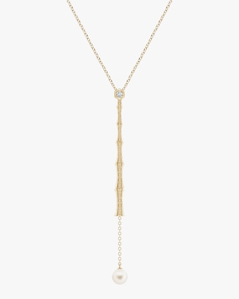 Natori Diamond & Pearl Bamboo Lariat Necklace 1