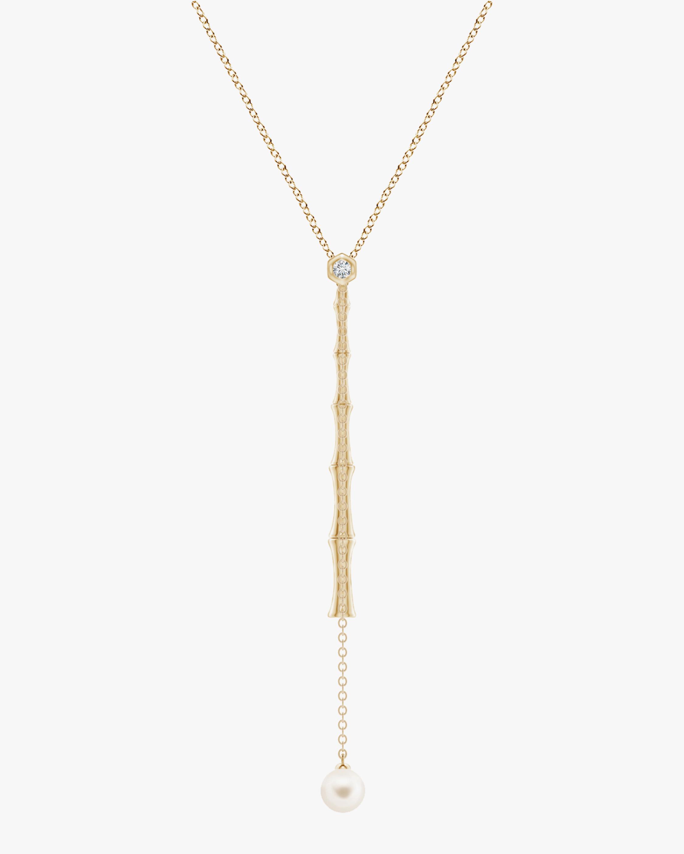 Natori Diamond & Pearl Bamboo Lariat Necklace 0