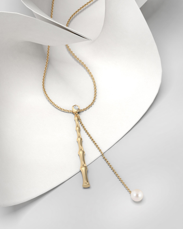 Natori Diamond & Pearl Bamboo Lariat Necklace 2