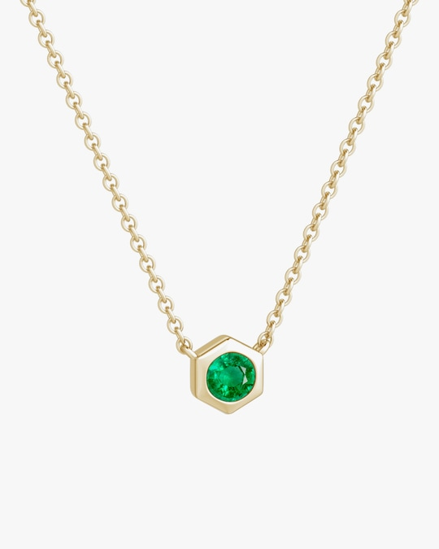 Natori Emerald Hexagon Pendant Necklace 0