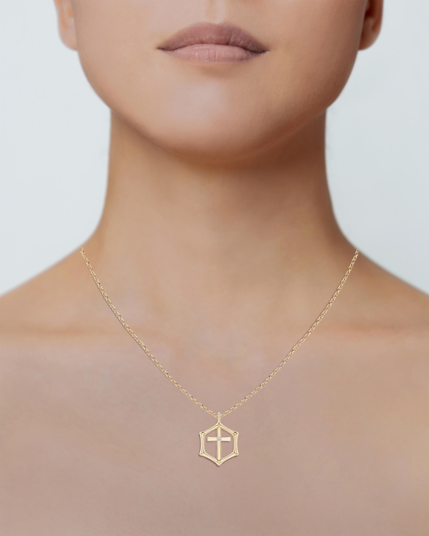 Natori Cross Bamboo Pendant Necklace 2