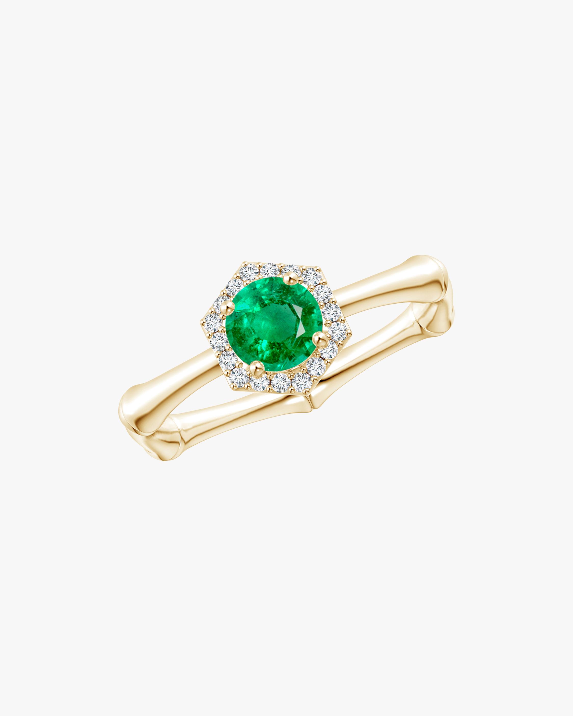 Natori Emerald & Diamond Hexagon Bamboo Ring 0